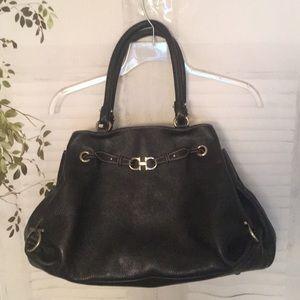 Salvatore Ferragamo black leather large handbag